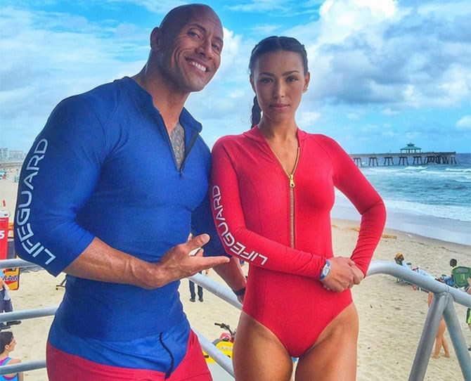 6. It's not all about the gents. Meet Deb Kawi, aka our new girl crush, looking sexy AF in Baywatch red. She'll be playing Stephanie Holden (remember her from the TV series?!)