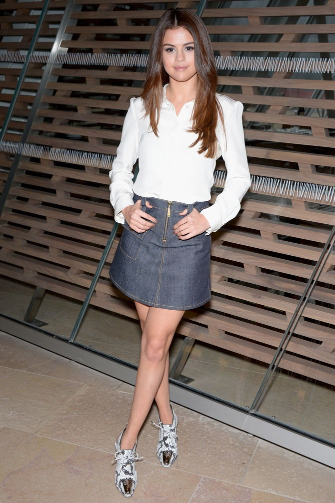 As she attended the Louis Vuitton AW16 show, she showed us how to do a denim skirt and white shirt to perfection.