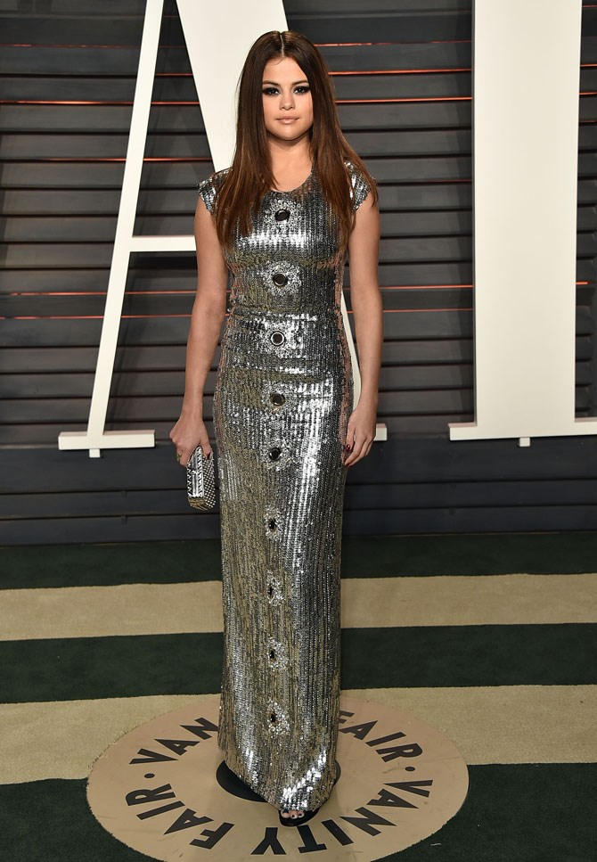 How could we possibly forget this silver sparkly number at the Vanity Fair Oscars after party?