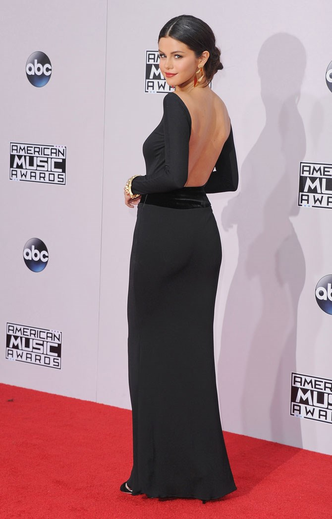 Sometimes all you need for maximum red carpet impact is a simple black gown with a killer low back-line.