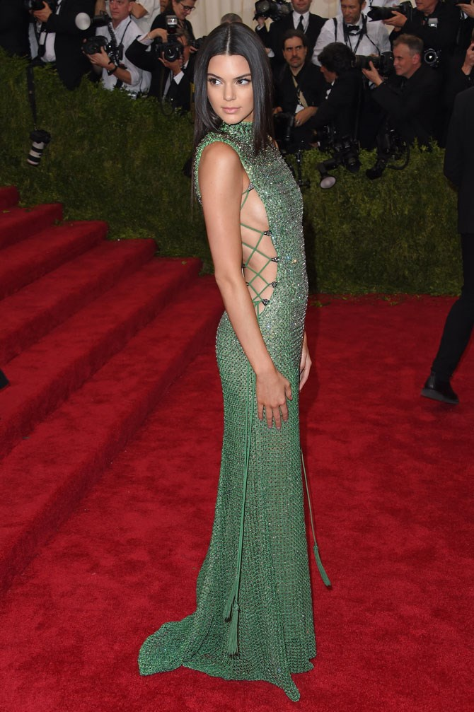 At last year's Met Gala she wore this INCREDIBLE lace-up, embellished Calvin Klein gown and brought all of the sexy back.