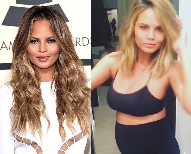 "We don't blame Chrissy Teigen for asking for the ""Khloe-Rosie"" hair cut because this blonde lob is FIRE!"