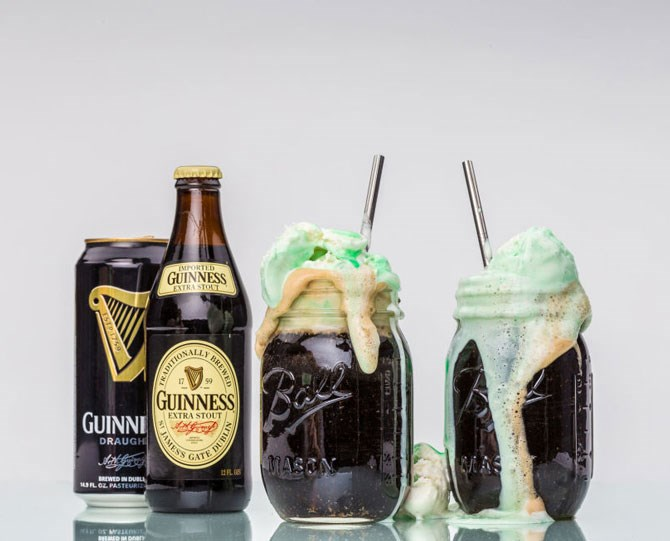 **1. Guinness Float** Get your hands on a **McDonald's Shamrock Shake.** Place your shake in the freezer to harden for about 30 minutes. In a pint glass, pour a fresh **Guinness** three-quarters of the way to the lip of the glass. Take your shake out of the freezer and use an ice cream scoop or large spoon to scoop 2 to 3 scoops into your beer. Optional: Make a homemade shake using 2 to 3 cups vanilla ice cream, 1 cup skim milk, 1/4 teaspoon mint extract, and 4 to 6 drops green food colouring. Combine all ingredients in a blender and blend until smooth.