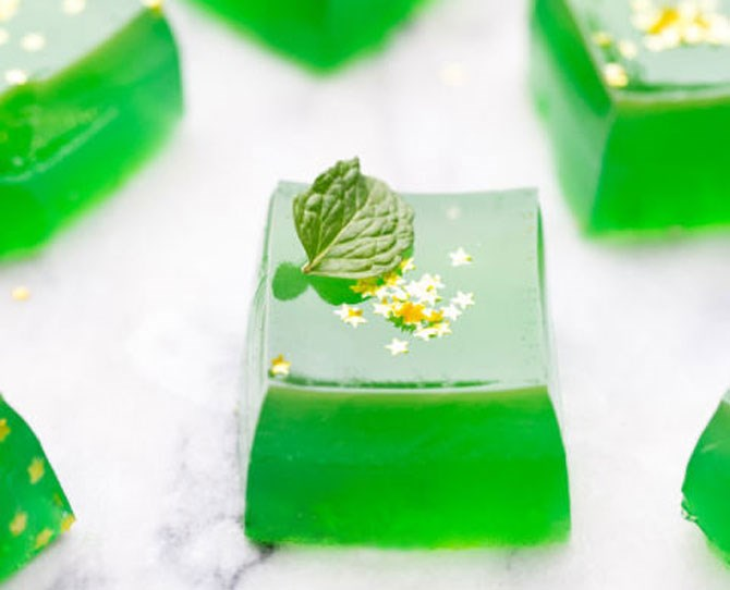 """**2. Jameson Jelly Shots** Lime juice and whiskey in little jelly bites garnished with edible gold stars? Yes, please. Get the recipe from *[Sugar and Charm.](http://sugarandcharm.com/2015/03/jameson-jello-shots.html