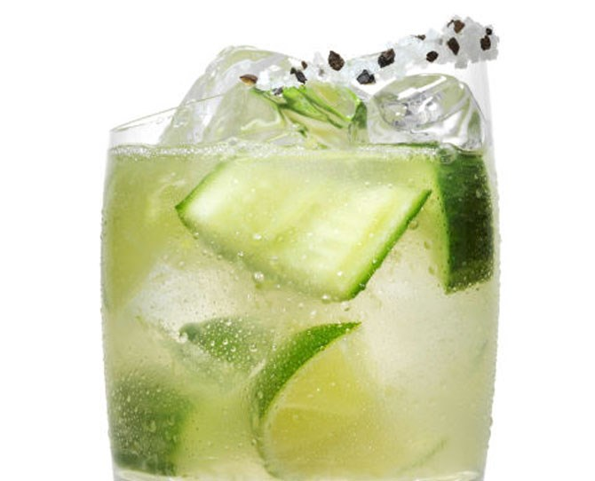 **8. Cucumber Celtic Climber** Muddle 3 **lime wedges** and 2 **cucumber wedges** with ½ part **agave nectar** in a cocktail shaker. Add 1½ parts **SVEDKA Cucumber Lime** and ice. Shake and strain into a rocks glass with a salt and pepper rim.