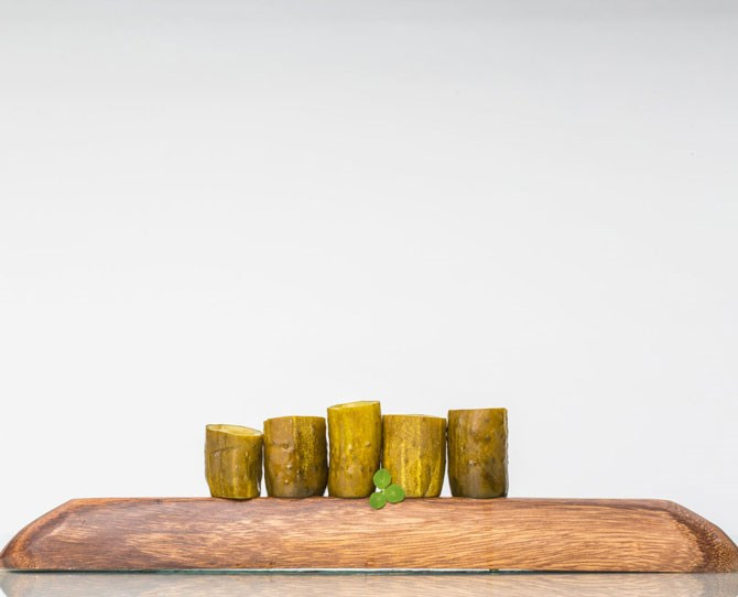**15. Pickleback Shots** Pickleback shots: Practically a classic. Pickleback shots *in pickles*: Mind-blowing. Find your favourite flavour **pickles** (dill, sour, garlic). Look for pickles about 13cm in length and 2.5 to 3.8cm thick. Cut each pickle in half, then slice off each end. Use a sharp knife to slice along the inner edges on one side of the pickle. Use the smallest end of a melon-baller to scoop out as much of the pickle as you can. Fill with 45mL **Irish whiskey**, take a shot. Then fill the pickle with 45mL **pickle brine juice**.