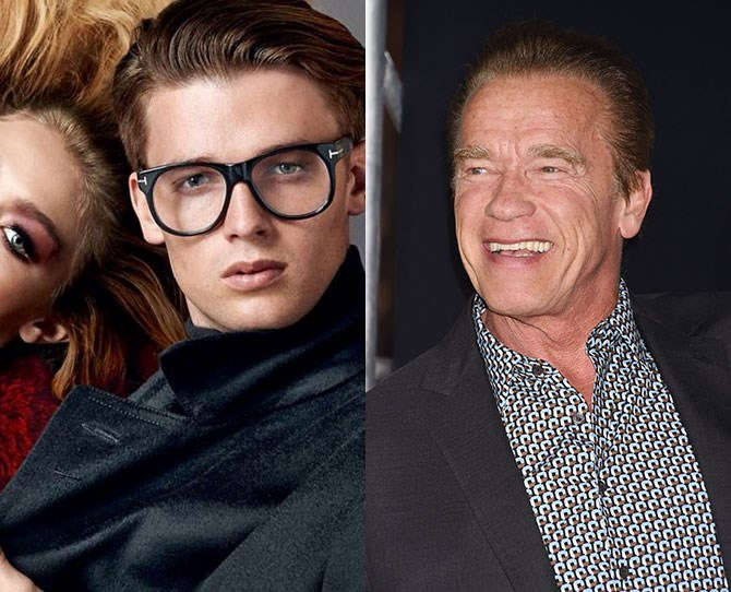 "**Patrick Schwarzenegger** Father: Arnold Schwarzenegger  Not just the guy that dated Miley Cyrus, Patrick fronted the Tom Ford eyewear campaign alongside (another famous person's kid) Gigi Hadid. He also did some ""acting"" in Scream Queens. We're sure 'he'll be back.' Lolz...good one."