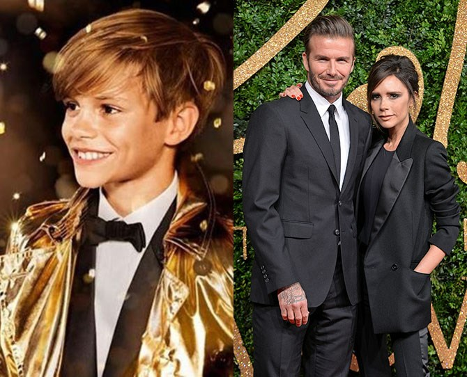 **Romeo Beckham** Parents: David and Victoria Beckham It takes a lot of moxie to stand out when you're next to Rosie Huntington-Whiteley in a Burberry campaign, but for Romeo Beckham it's all in a day. Also makes us want to buy a Burberry trench. Damn you, advertisers!