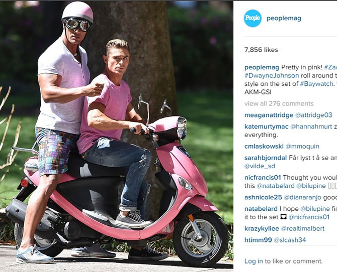 3. THE ROCK AND ZAC EFRON ON A PINK VESPA AND WE DON'T KNOW WHY WE'RE SHOUTING!