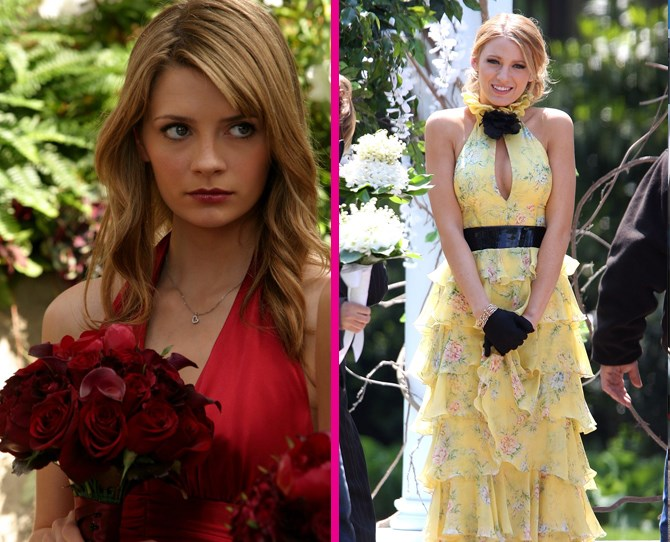 **Bridesmaid dresses** Serena and Marissa were both bridesmaids at their mums' weddings, but Julie Cooper and Lily Van Der Woodsen had very different taste. Case in point: Serena's high fashion look vs. Marissa's textbook bridesmaid getup. ** **