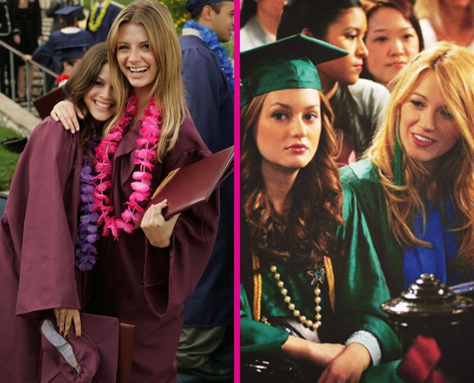 **Graduation** Graduation in California looks a lot happier than in NYC! Summer and Marissa are giving off *all* of the bestie vibes with those cute grins and Hawaiian leis. Bonus style points to Serena for fashioning the tassel from her cap into some sort of hair accessory. ** **