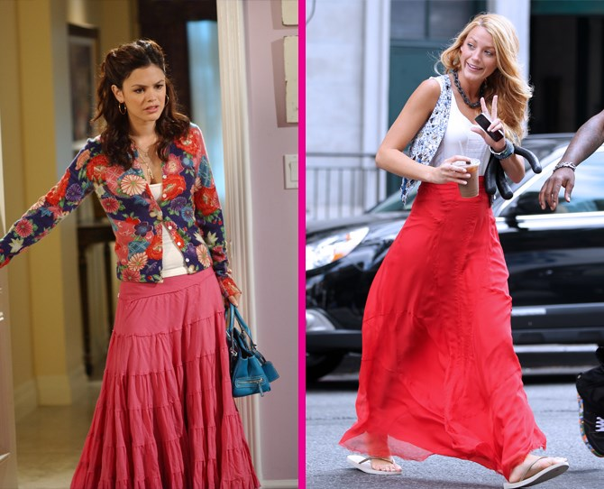 **Red maxi skirts** Blake Lively and Rachel Bilson are still our ultimate boho style idols. ** **