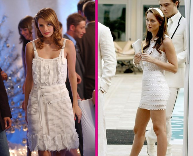 **Ruffled white mini dresses** Blair puts her spin on a Marissa Cooper classic by taking a few inches off the hem and adding a trademark Blair Waldorf headband, natch. ** **