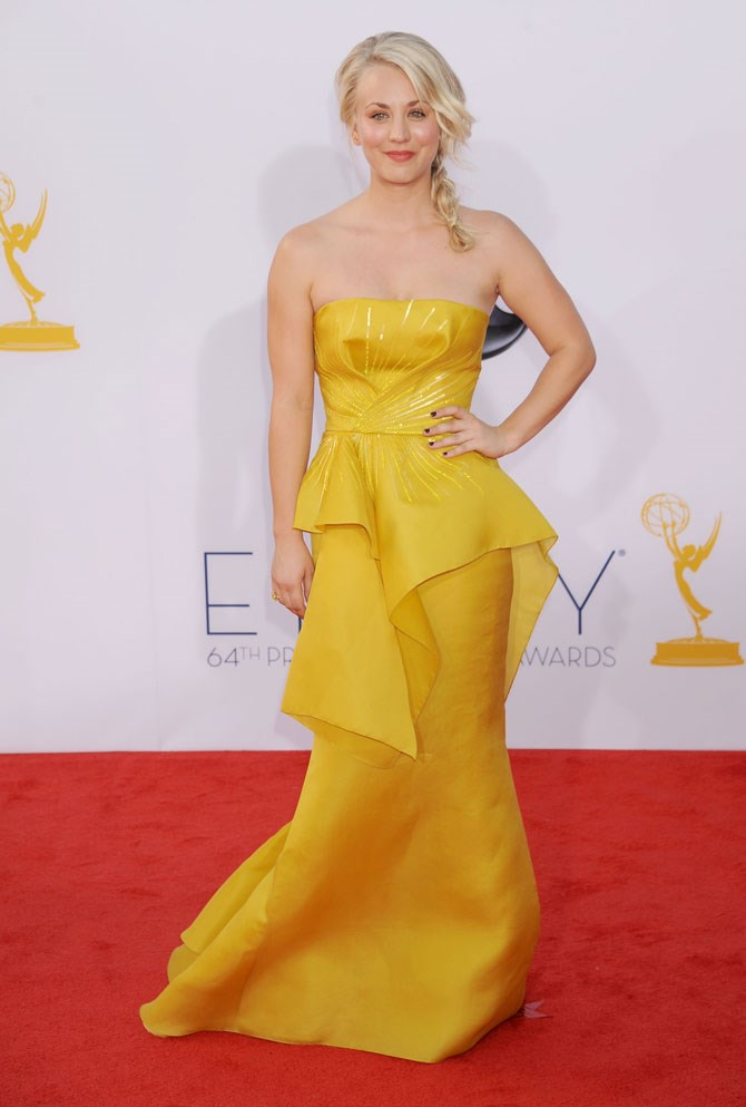 She also WOWED in bright yellow on the Emmy's red carpet in 2012.