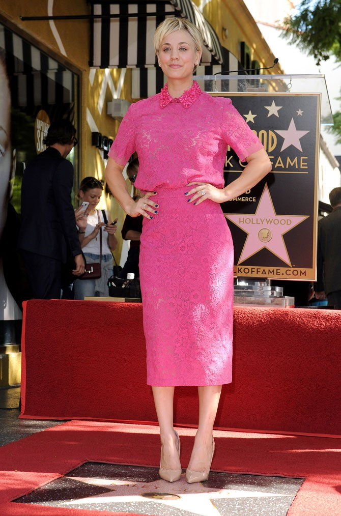 In 2014 she was honoured with her very own star on the Hollywood Walk of Fame but all we could look at was her eipc lady-like hot pink skirt suit!