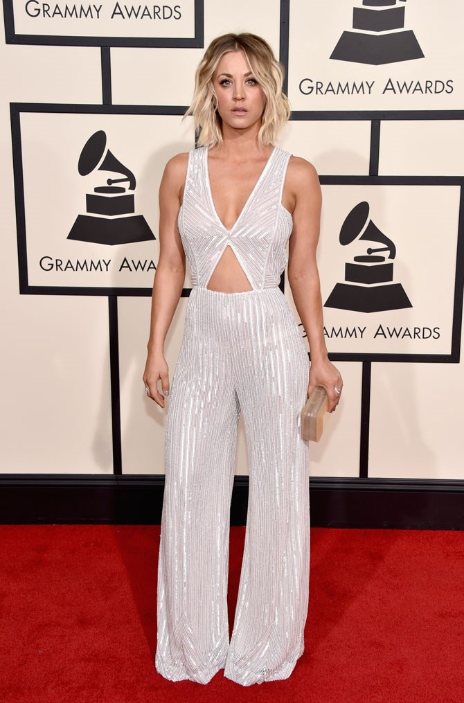 At this year's Grammy's she went straight to the top of our best dressed list in this stunning, sparkling jumpsuit with cut outs.