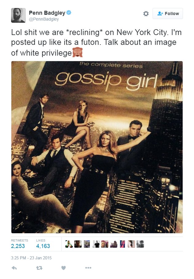 **Penn Badgley** And then there was this. That cringe emoji though…