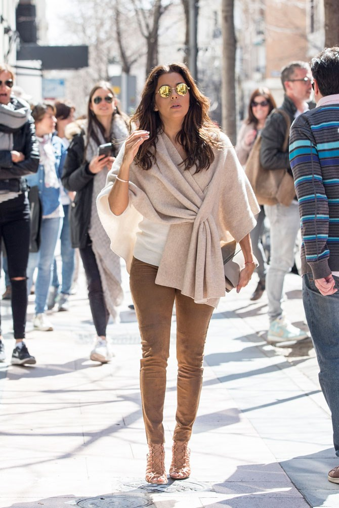 Eva Longoria was a vision on the streets of Madrid.