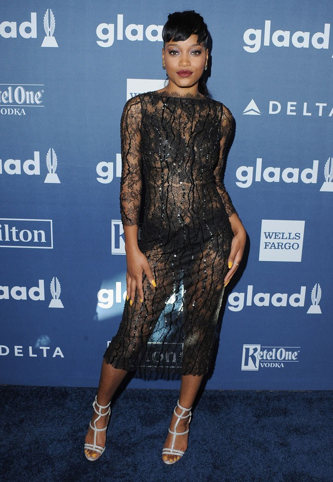 Keke Palmer knows the sexy power of sheer, black lace.