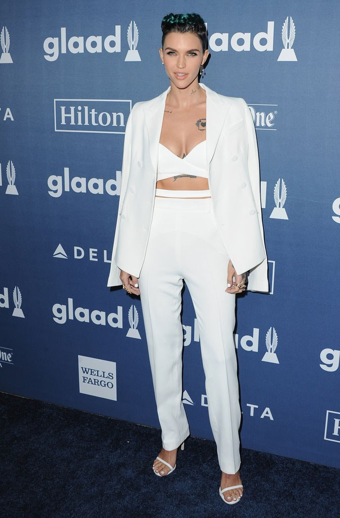 "Ruby Rose rocked her blue braids and white ensemble like a boss-lady at the GLAAD awards, [where she and Taylor Swift gave us major BFF goals.](http://www.cosmopolitan.com.au/celebrity/celebrity-gossip/2016/4/7-times-ruby-rose-and-taylor-swift-were-bffgoals-at-the-glaad-awards/|target=""_blank"")"