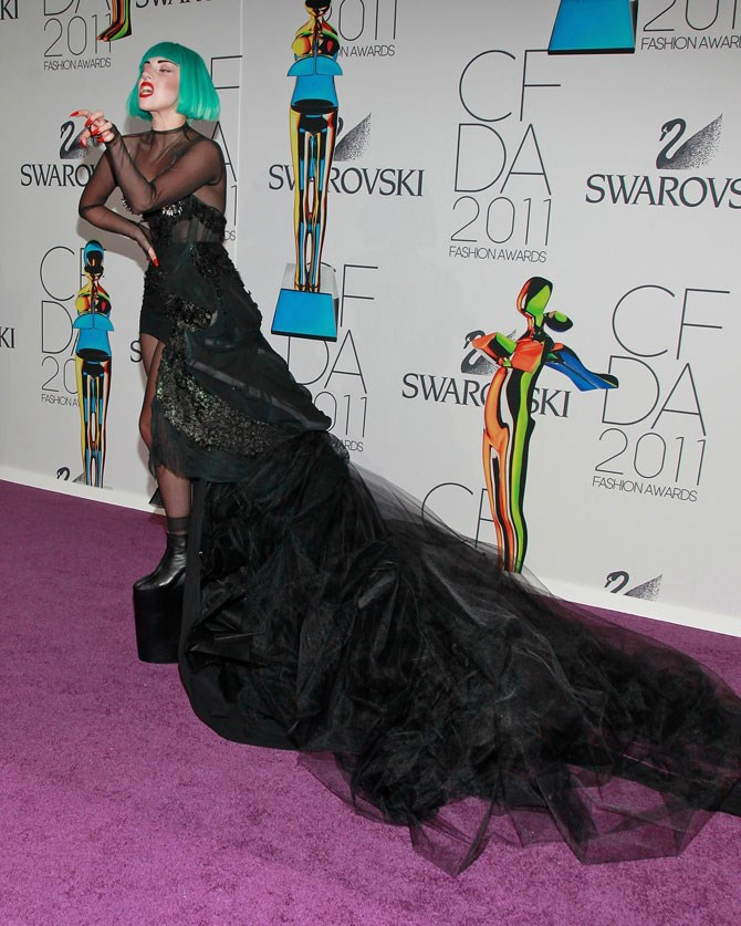 It was green hair and platforms higher than my shin bones for the CFDA Fashion Awards.