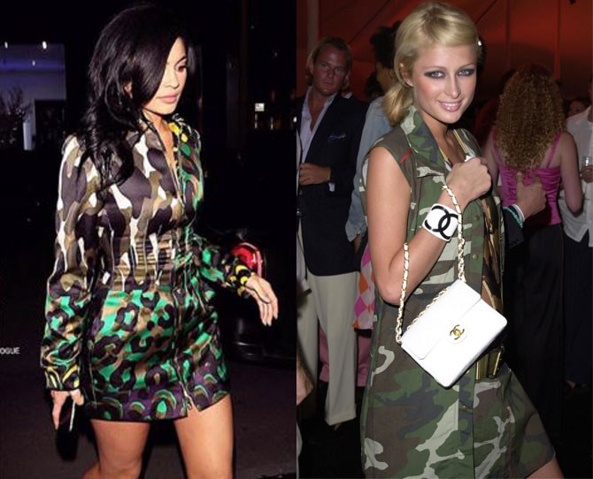 **Camo   **The early noughties saw a huge obsession with camo. Why? We're not quite sure but Kylie is obvs keen to resurrect the trend.    Sorry Paris Hilton, guilty again...