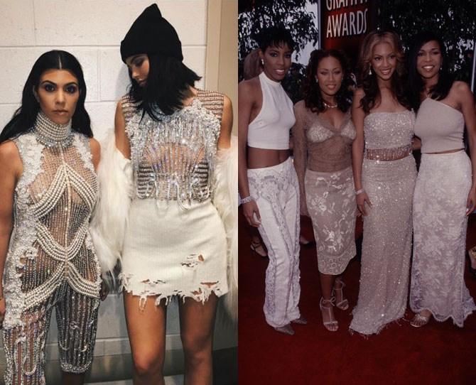 **Matching outfits   **Kylie and the wider Kardashian clan always make sure that at formal events they're co-ordinating.    It kind of reminds us of the girlband days...