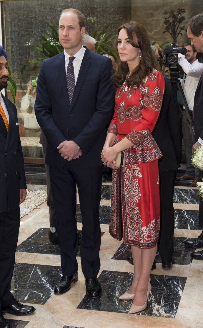 The Duchess and Prince William are currently attending to royal duties as they tour India, and we have to say, she is looking ravishing every step of the way.    Day one saw her wear this red, printed dress by Alexander McQueen as she paid her resepcts to the Mumbai terror attack victims.
