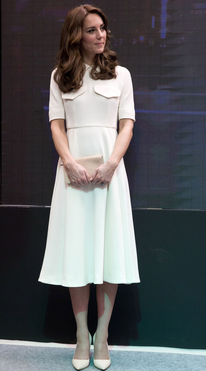 On day two, The Duchess kept things crisp and classic in a white day dress by Emilia Wickstead. Isn't she just a vision!?