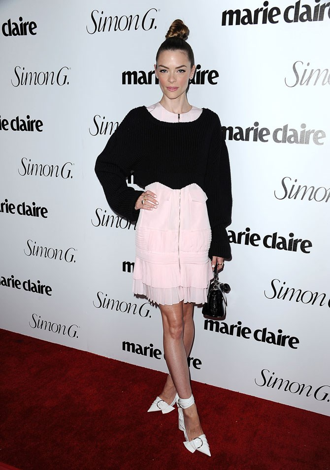 Jaime King also went to the Marie Claire *Fresh Faces* party looking, well, fresh! Her pink, black and white Dior combo was topped off with peachy pink makeup and a top knot to end all top knots.