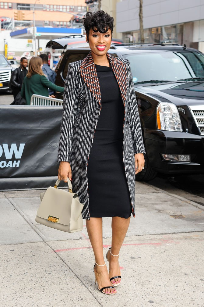 Jennifer Hudson was proper lady-like in this black midi dress and printed overcoat on the streets of New York.
