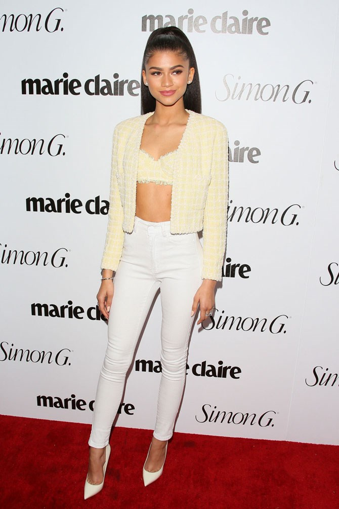 The celebs were out in full force at the Marie Claire *Fresh Faces* party and boy did they bring their fashion A-game. Zendaya, who is one of the covergirls, looked next-level hotness in this super fem outfit of white skinny jeans and a lemon crop and jacket combo. Honestly, is there any look this girl *can't* pull off?