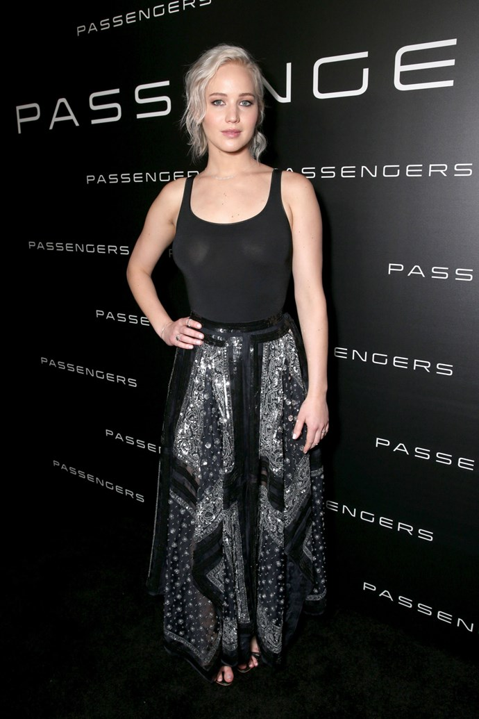 JLaw gave us another reason to love her when she totally free-boobed underneath this sheer, tight tank top at a CinemaCon event in Las Vegas. I mean, if you're gonna get your nips out, it may as well be in Vegas, right? But what we really want to know is how the heck do her boobs stay so perky sans bra?!     Trust Jennifer Lawrence to even give us #BoobGoals.