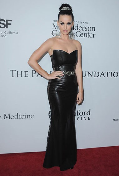 Katy Perry oozed goth-glam vibes at an LA charity gala in this fitted pleather dress. But it looked SO much better from the side...