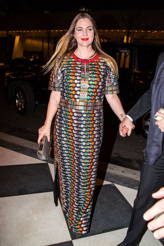 Drew Barrymore was all smiles and bright colours as she arrived at the Plaza Hotel in NY.