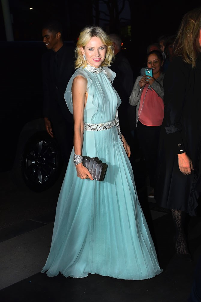 "Naomi Watts looked every bit the part in this floaty, pale ""tiffany"" blue gown at the Tiffany and Co. Blue Book Gala. What a stunner!"