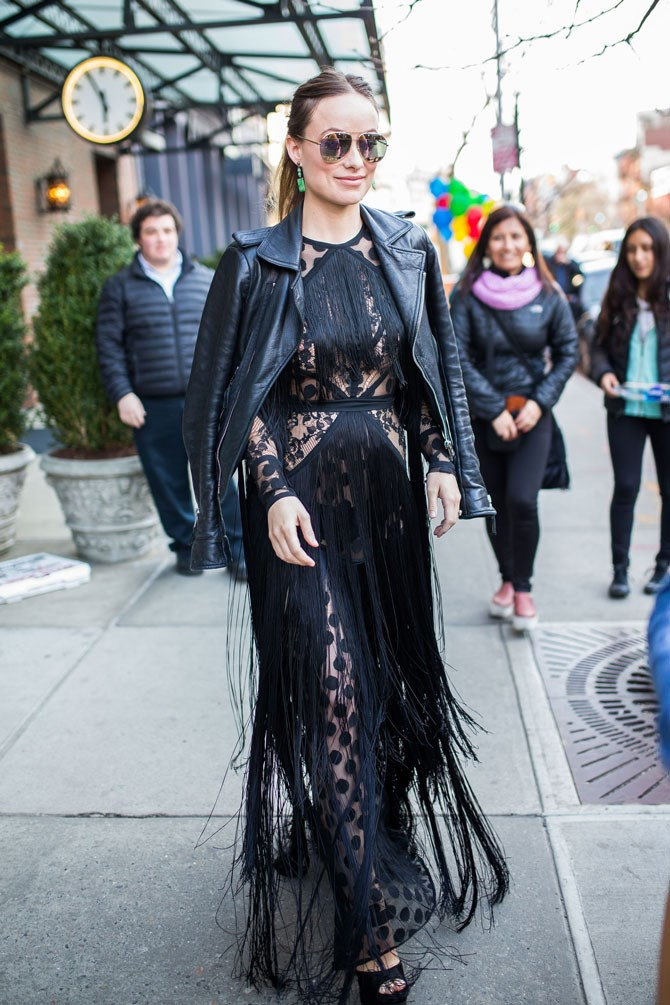 Olivia Wilde was spotted in New York wearing head-to-toe black just how it should be worn - with butt-loads of texture and hot AF attitude.