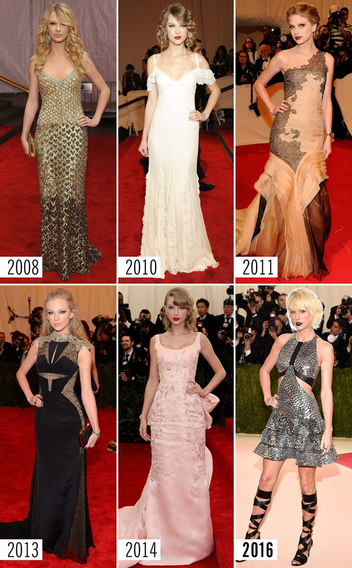 **8. Taylor Swift**    You can take away her curly hair, her winged eyeliner, and her princess gowns, but you'll never get her hand off her hip. That's her true red carpet signature.