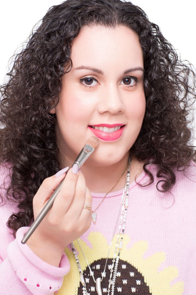 **4. After applying lipstick, apply a skin-coloured powder around the edges to create an extra clean line around your lips. **