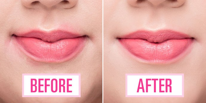 This cleans up the edges of your lipstick and makes your lips pop.