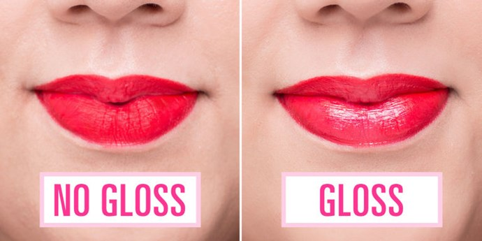Going for a more laid-back vibe? Pop clear gloss over your matte lipstick for a fresh, dewy look.