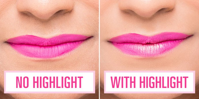 Bold matte lipstick can actually make your lips look smaller so this trick will help counter that effect. Highlighter adds extra volume on your bottom lip where the sun would naturally hit. Apply after your lipstick, and stick with a powder highlighter to keep the matte look intact.