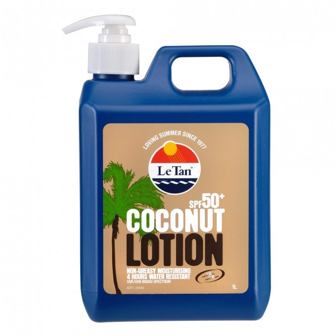 """**1. [LE TAN Coconut Lotion Pump Pack SPF 50+](https://www.priceline.com.au/le-tan-coconut-lotion-pump-pack-spf50-1-l target=""""_blank""""), $29.99** This sunscreen is light and makes your skin look glossy *not* greasy. The coconut scent also makes you feel like you're on holiday all year round."""