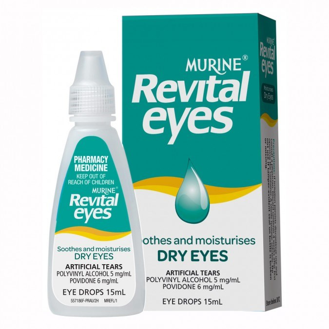 """**5. [MURINE Revital Eyes Dry Eye Drops 15 mL](https://www.priceline.com.au/murine-revital-eyes-dry-eye-drops-15-ml target=""""_blank"""")**, $9.99 There's nothing worse than sore, dry and red eyes that steal the limelight from your eye makeup, that's where eye drops come in."""