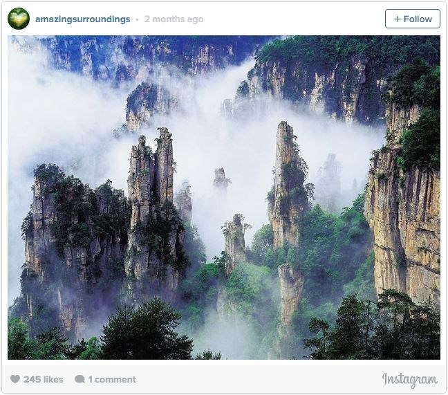 "**6. ZHANGJIAJIE NATIONAL FOREST PARK, CHINA​   **Supposedly the inspiration behind much of the scenery in James Cameron's movie Avatar, the [Zhangjiajie National Forest Park](http://www.lonelyplanet.com/china/hunan/wulingyuan-and-zhangjiajie/introduction?lpaffil=lp-affiliates|target=""_blank"") looks like it's from another world. With the unique quartz and sandstone pillars rising out of the jungle, fog adds another element to the epic landscape."