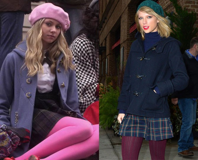 Taylor Swift's recent style makeover had us reminiscing of our beloved Gossip Girl days, when Jenny Humphrey went from prissy girl-next-door, to bleach blonde bad ass in a matter of, well, a season. Then we realised it wasn't just the bleach blonde hair that Tay copied from Jay, it was her every style move! And we have the evidence:    Starting with this. The beret. The toggle coat, The tartan skirt. The coloured tights. It's like Taylor studied Jenny's every fashion decision down to the last detail.