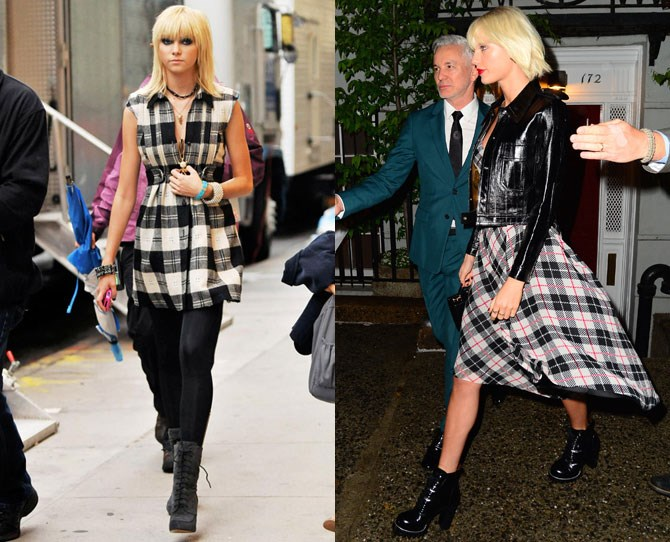 And this is basically just a 2016 version of Jenny's checked ensemble from way back when. The hair is one thing. The tartan is another and the lace up boots just prove our case once and for all. We're so totally on to you T-Swizzle...