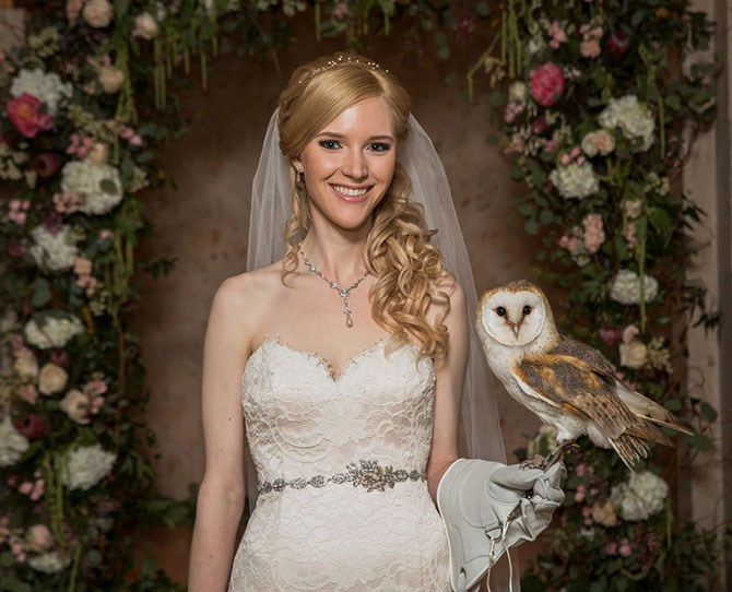Quick pose with bride and said owl.
