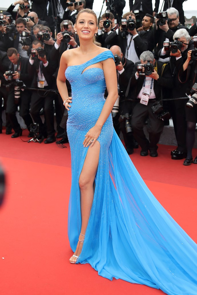 Just when we thought Blake Lively's Cannes wardrobe couldn't possibly get any more amazing, she went and knocked it out of the park in a Vivienne Westwood number with one shoulder, a thigh-high split AND a train ... and it still wasn't too much. PS That bump.