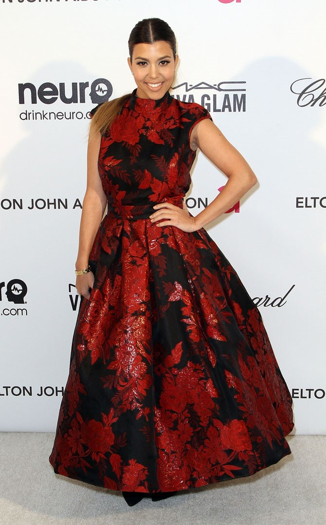 She always manages to make the most of a red carpet appearance and this red and black show-stopper was no exception.